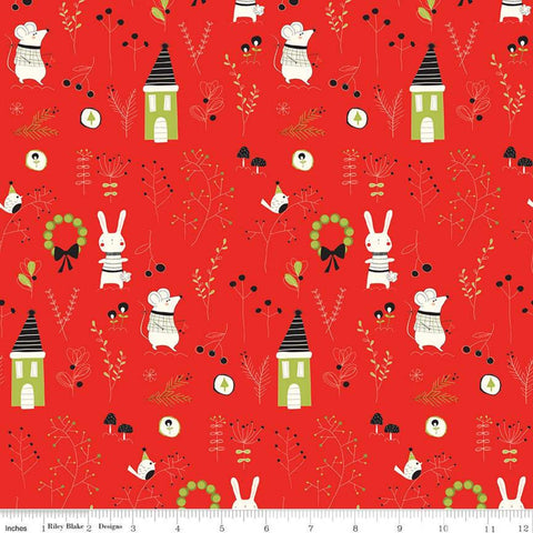 Merry Little Christmas Main C9640 Red - Riley Blake Designs - Houses Mice Rabbits Birds Leaves Mushrooms Cream - Quilting Cotton Fabric