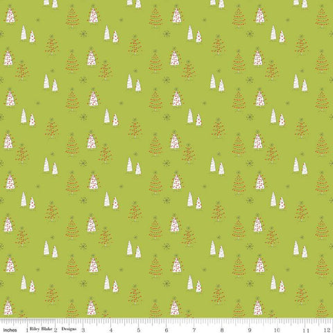 SALE Merry Little Christmas Trees C9641 Green - Riley Blake Designs - Tree Snowflakes Cream - Quilting Cotton Fabric