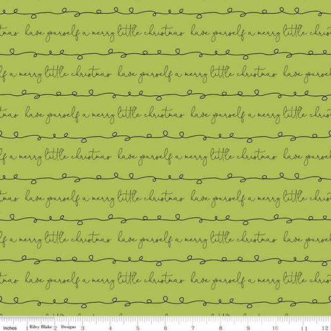 SALE Merry Little Christmas Writing C9643 Green - Riley Blake Designs - Have Yourself a Merry Little Christmas - Quilting Cotton Fabric