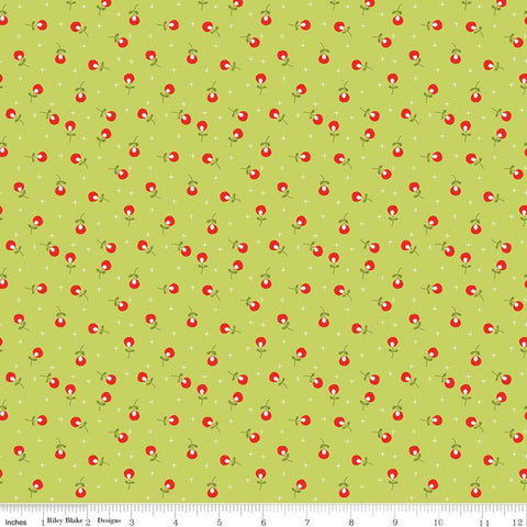 SALE Merry Little Christmas Berries C9645 Green - Riley Blake Designs - Floral Flowers Plus Signs - Quilting Cotton Fabric