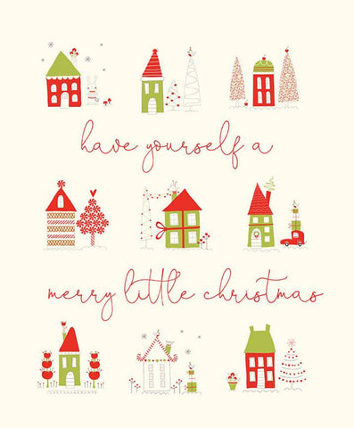 SALE Merry Little Christmas Panel P9648 Cream by Riley Blake Designs - Have Yourself a Merry Little Christmas House - Quilting Cotton Fabric