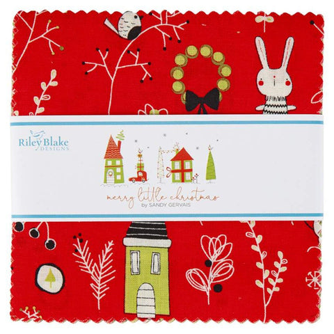 "Merry Little Christmas Charm Pack 5"" Stacker Bundle - Riley Blake Designs - 42 piece Precut Pre cut -  Quilting Cotton Fabric"