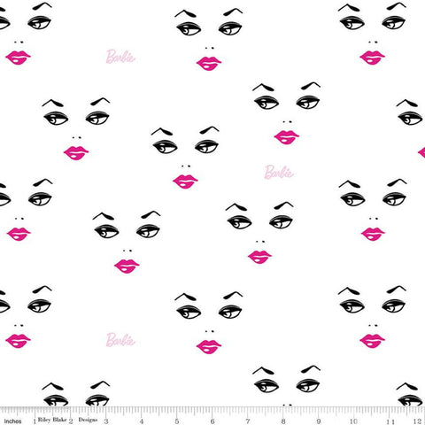 SALE Barbie Faces C9731 White - Riley Blake Designs - Barbie Face Logo Dolls Toys Barbie Doll - Quilting Cotton Fabric