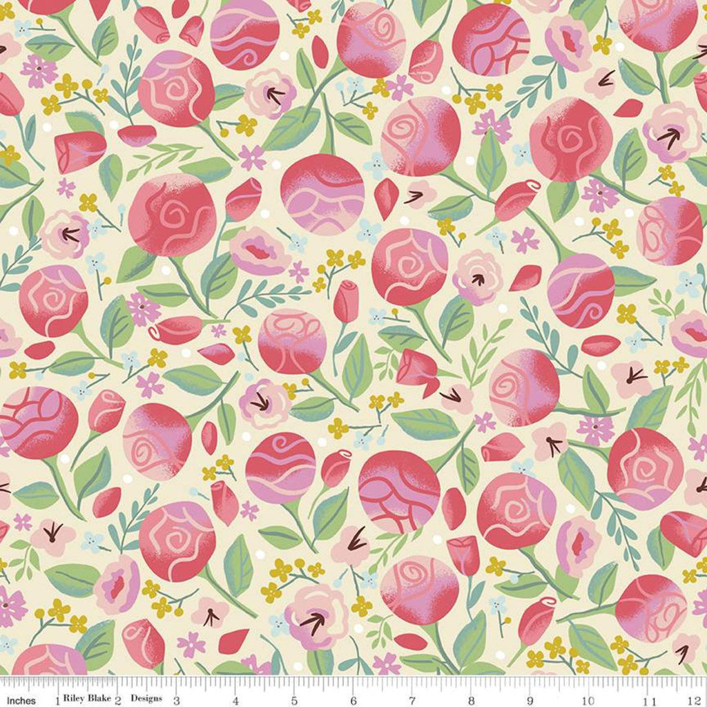 SALE Beauty and the Beast Floral C9532 Cream - Riley Blake Designs - Fairy Tale Flowers Leaves - Quilting Cotton Fabric