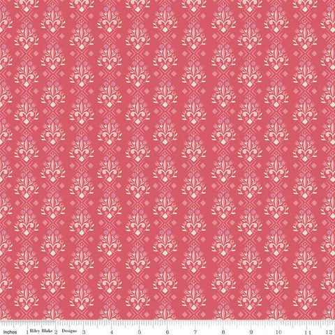 Beauty and the Beast Fleur-de-lis Dark Pink C9535 Dark Pink - Riley Blake Designs - Fairy Tale Flowers Pink Cream - Quilting Cotton Fabric