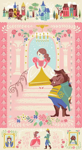 SALE Beauty and the Beast Panel P9536 Pink by Riley Blake Designs - Fairy Tale Belle Castles SPARKLE - Quilting Cotton Fabric