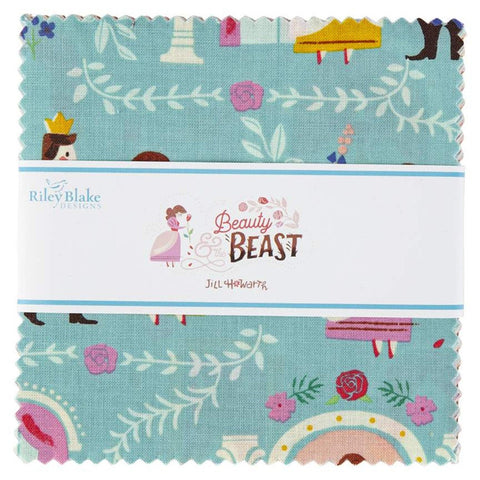 "Beauty and the Beast Charm Pack 5"" Stacker Bundle - Riley Blake Designs - 42 piece Precut Pre cut - Belle - Quilting Cotton Fabric"