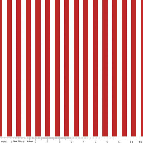 "Pirate Tales Stripes C9686 Red - Riley Blake Designs - Red and White 3/8"" Stripe Striped -  Quilting Cotton Fabric"