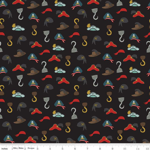 SALE Pirate Tales Hats C9685 Black - Riley Blake Designs - Pirates Hooks Hats -  Quilting Cotton Fabric