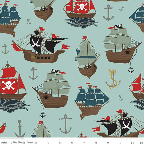 SALE Pirate Tales Main P9680 Blue - Riley Blake Designs - Pirate Ships Anchors - Quilting Cotton Fabric