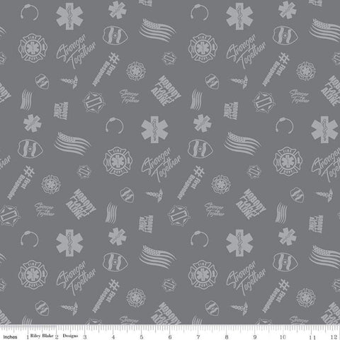 SALE Nobody Fights Alone First Responder C10421 Gray - Riley Blake Designs - Symbols Flags Stronger Together - Quilting Cotton Fabric