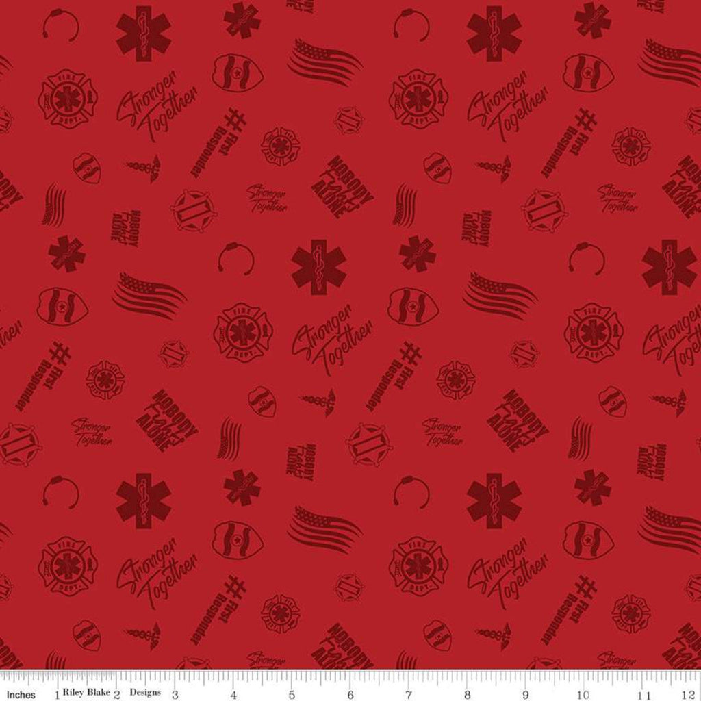 SALE Nobody Fights Alone First Responder C10421 Red - Riley Blake Designs - Symbols Flags Stronger Together - Quilting Cotton Fabric