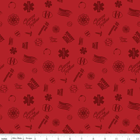 Nobody Fights Alone First Responder C10421 Red - Riley Blake Designs - Symbols Flags Stronger Together - Quilting Cotton Fabric