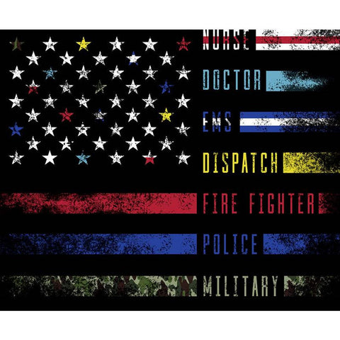 SALE Nobody Fights Alone Panel P10423 by Riley Blake Designs - Nurse Doctor Dispatch Fire Fighter Police Military - Quilting Cotton Fabric
