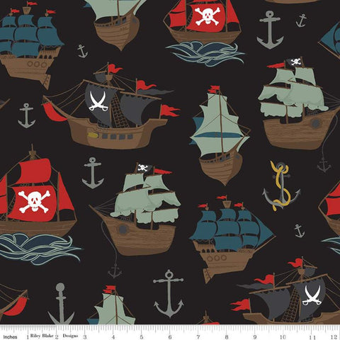 SALE Pirate Tales Main P9680 Black - Riley Blake Designs - Pirate Ships Anchors - Quilting Cotton Fabric