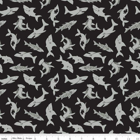 SALE Pirate Tales Sharks P9684 Black - Riley Blake Designs - Pirates - Quilting Cotton Fabric