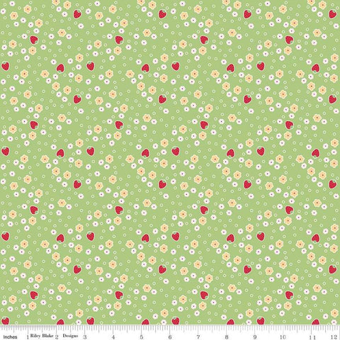SALE Bake Sale 2 Strawberry C6985 Green - Riley Blake Designs - Berries Floral Flowers - Quilting Cotton Fabric