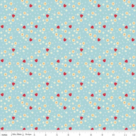 SALE Bake Sale 2 Strawberry C6985 Aqua - Riley Blake Designs - Berries Floral Flowers Blue - Quilting Cotton Fabric