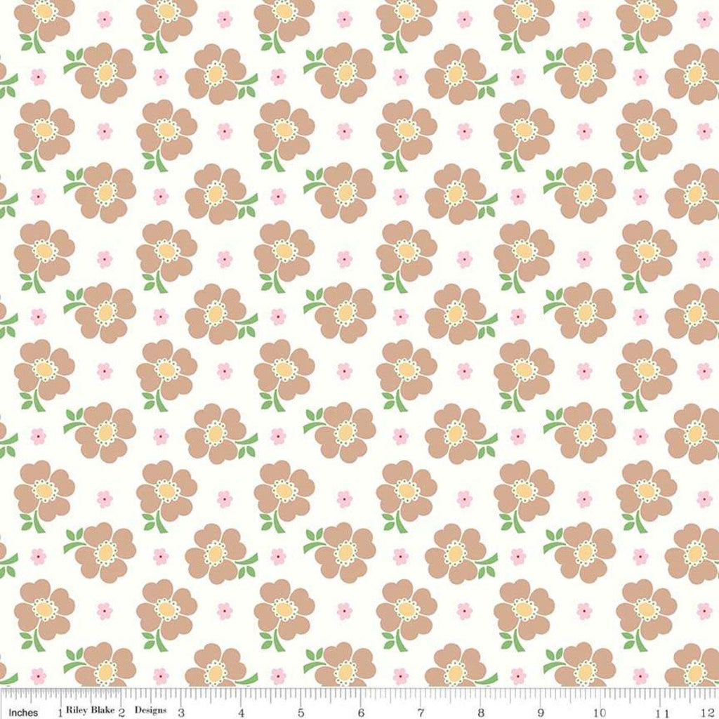 Bake Sale 2 Floral C6983 White - Riley Blake Designs - Flowers - Quilting Cotton Fabric