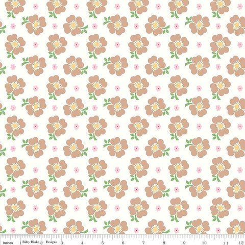 SALE Bake Sale 2 Floral C6983 White - Riley Blake Designs - Flowers - Quilting Cotton Fabric