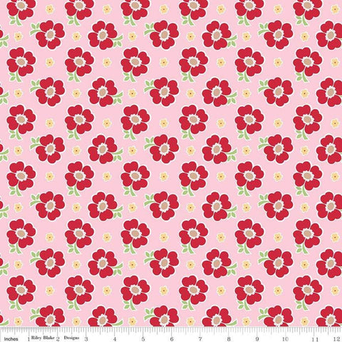 SALE Bake Sale 2 Floral C6983 Pink - Riley Blake Designs - Flowers - Quilting Cotton Fabric
