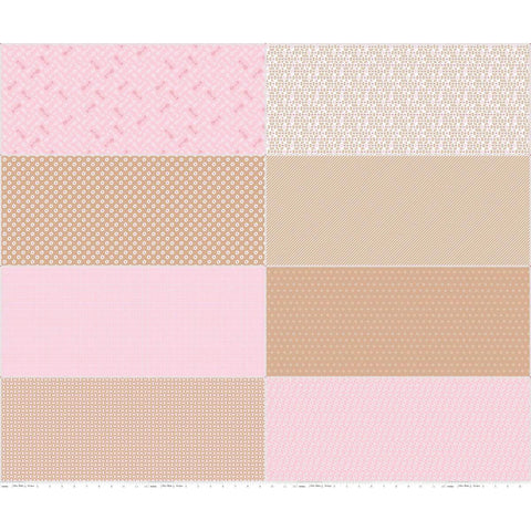Bake Sale 2 Fat Eighth Panel FEP6989 Nutmeg by Riley Blake Designs - 8 Fat Eighths Beige Brown Pink - Quilting Cotton Fabric