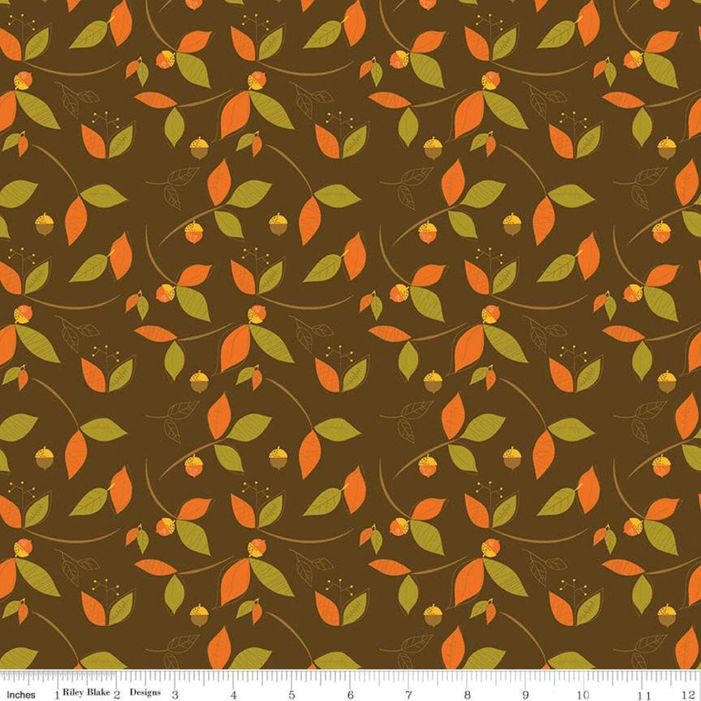 SALE Give Thanks Leaves C9522 Brown - Riley Blake Designs - Thanksgiving Autumn Fall Floral Acorns - Quilting Cotton