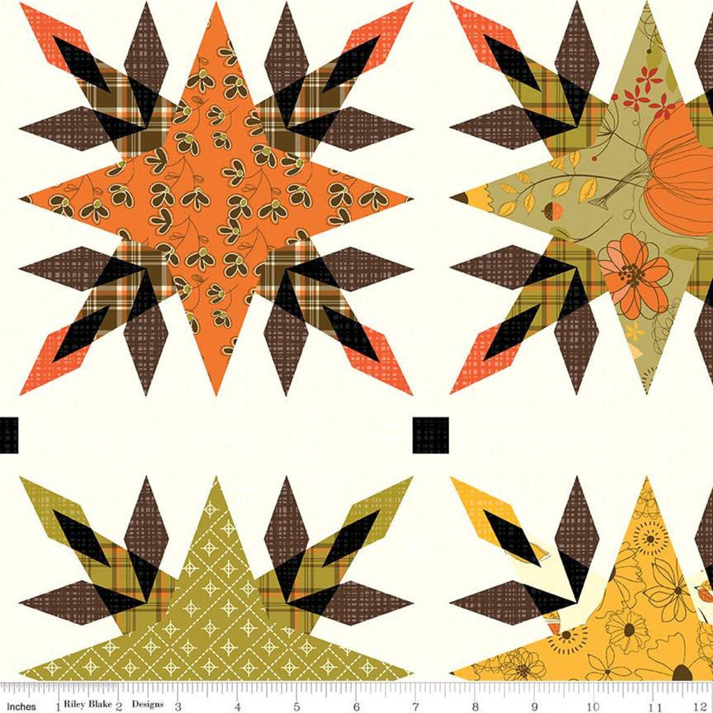 SALE Give Thanks Cheater Print CH9526 Cream - Riley Blake Designs - Thanksgiving Autumn Fall Star Quilt Block -  Quilting Cotton Fabric
