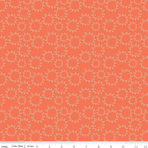 SALE Ready Set Splash! Sun C9893 Coral - Riley Blake Designs - Line Drawings Orange - Quilting Cotton Fabric