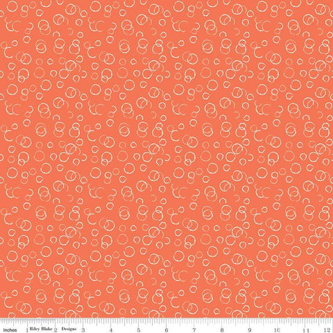 Ready Set Splash! Bubbles C9896 Coral - Riley Blake Designs - Line Drawings Circles Orange  - Quilting Cotton Fabric