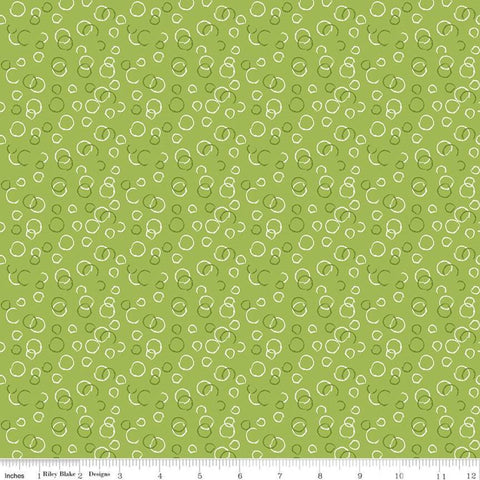 Ready Set Splash! Bubbles C9896 Green - Riley Blake Designs - Line Drawings Circles - Quilting Cotton Fabric