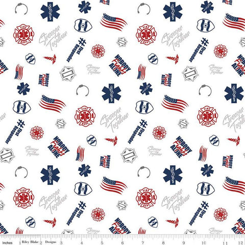 Nobody Fights Alone First Responder C10421 White - Riley Blake Designs - Symbols Flags Stronger Together - Quilting Cotton Fabric