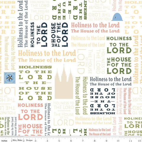SALE Temples Text C9863 Multi - Riley Blake Designs - House of the Lord Holiness to the Lord Latter-day Saints - Quilting Cotton Fabric