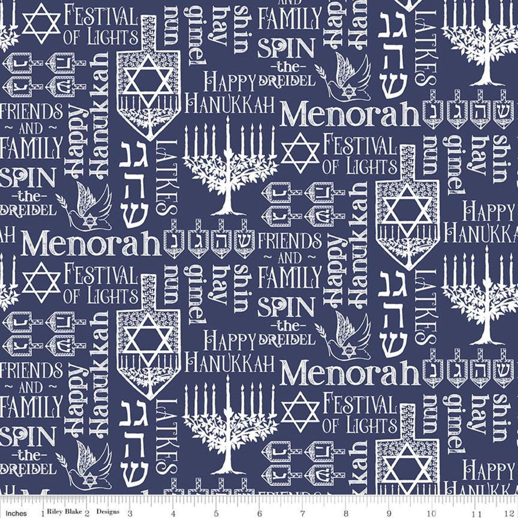 SALE Festival of Lights Symbols C9651 Blue - Riley Blake Designs - Hanukkah Menorah Star of David Words Text White - Quilting Cotton Fabric
