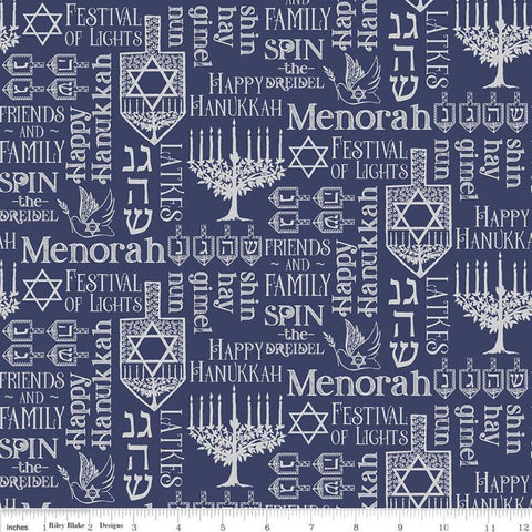 SALE Festival of Lights Symbols SC9651 Silver SPARKLE - Riley Blake Designs - Hanukkah Menorah Star of David Words Text - Quilting Cotton