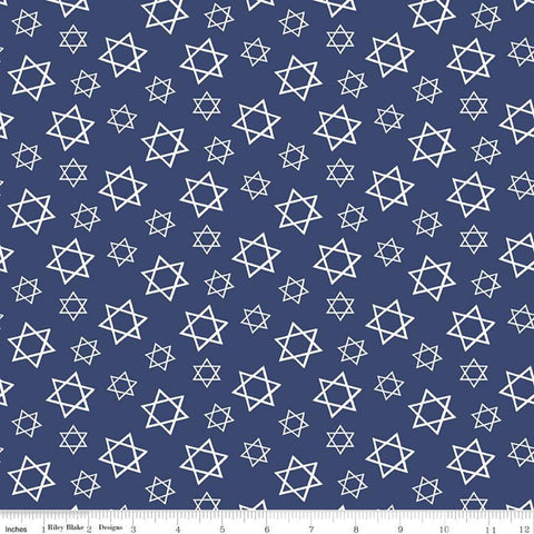SALE Festival of Lights Star of David C9653 Blue - Riley Blake Designs - Hanukkah Blue White - Quilting Cotton Fabric