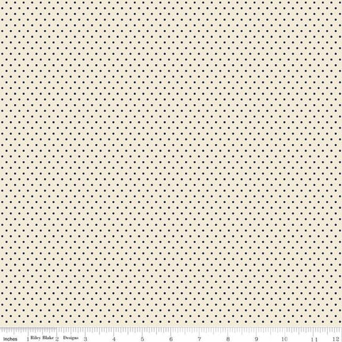 SALE Jane Austen at Home Navy Dot C10019 - Riley Blake  - Cream Blue Historical Reproductions Polka Dots Dotted - Quilting Cotton Fabric
