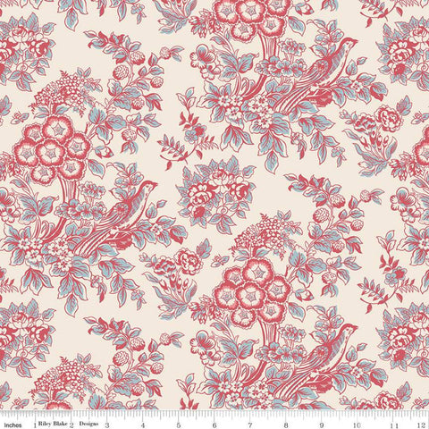 SALE Jane Austen at Home C10016 Charlotte - Riley Blake Designs - Cream Red Blue Historical Reproductions Floral Flowers - Quilting Cotton
