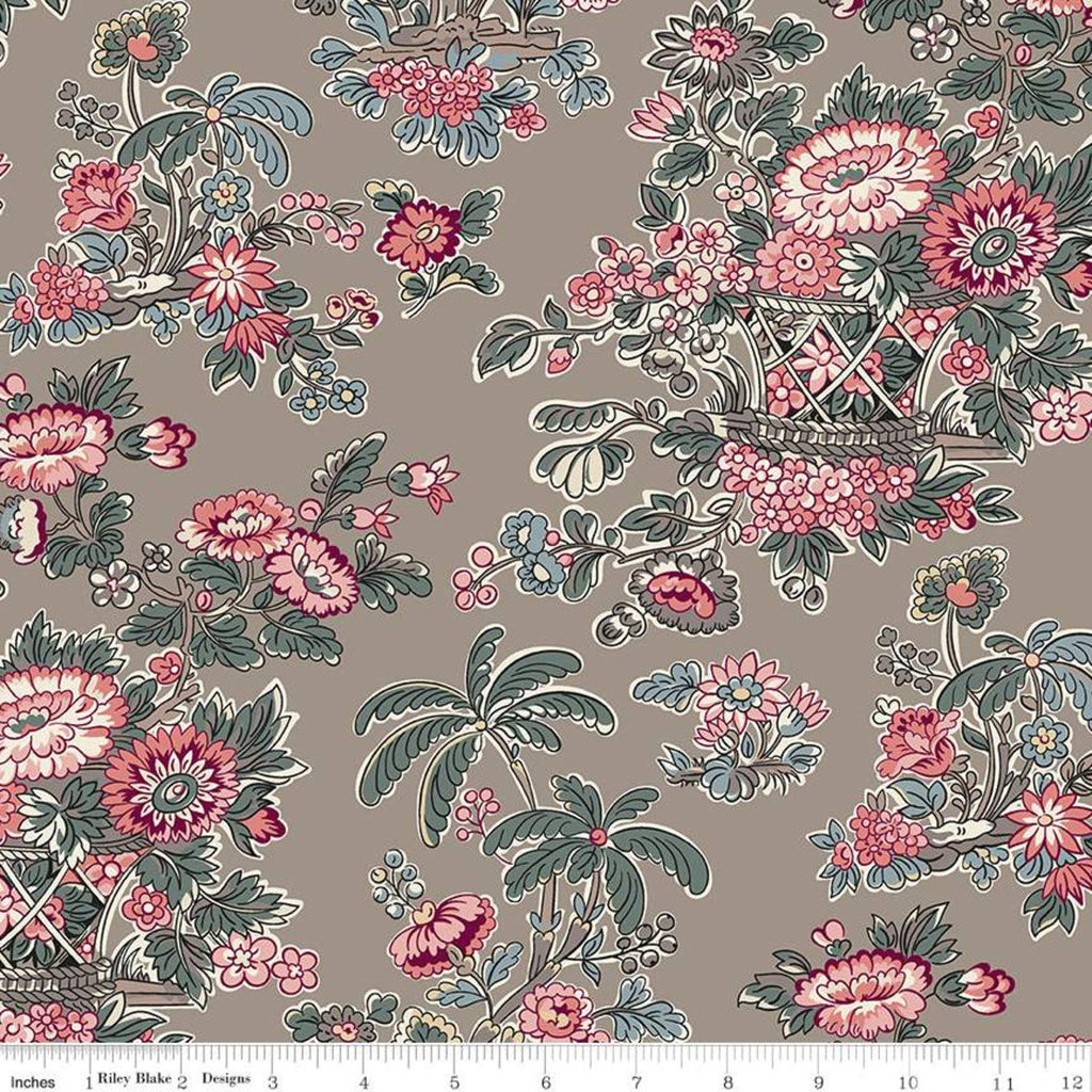 SALE Jane Austen at Home C10014 Fanny - Riley Blake Designs - Brown Pink Blue Historical Reproductions Floral Flowers - Quilting Cotton
