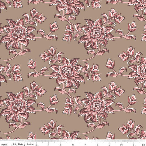 SALE Jane Austen at Home C10013 Isabella - Riley Blake Designs - Brown Pink Historical Reproductions Floral Flowers - Quilting Cotton Fabric