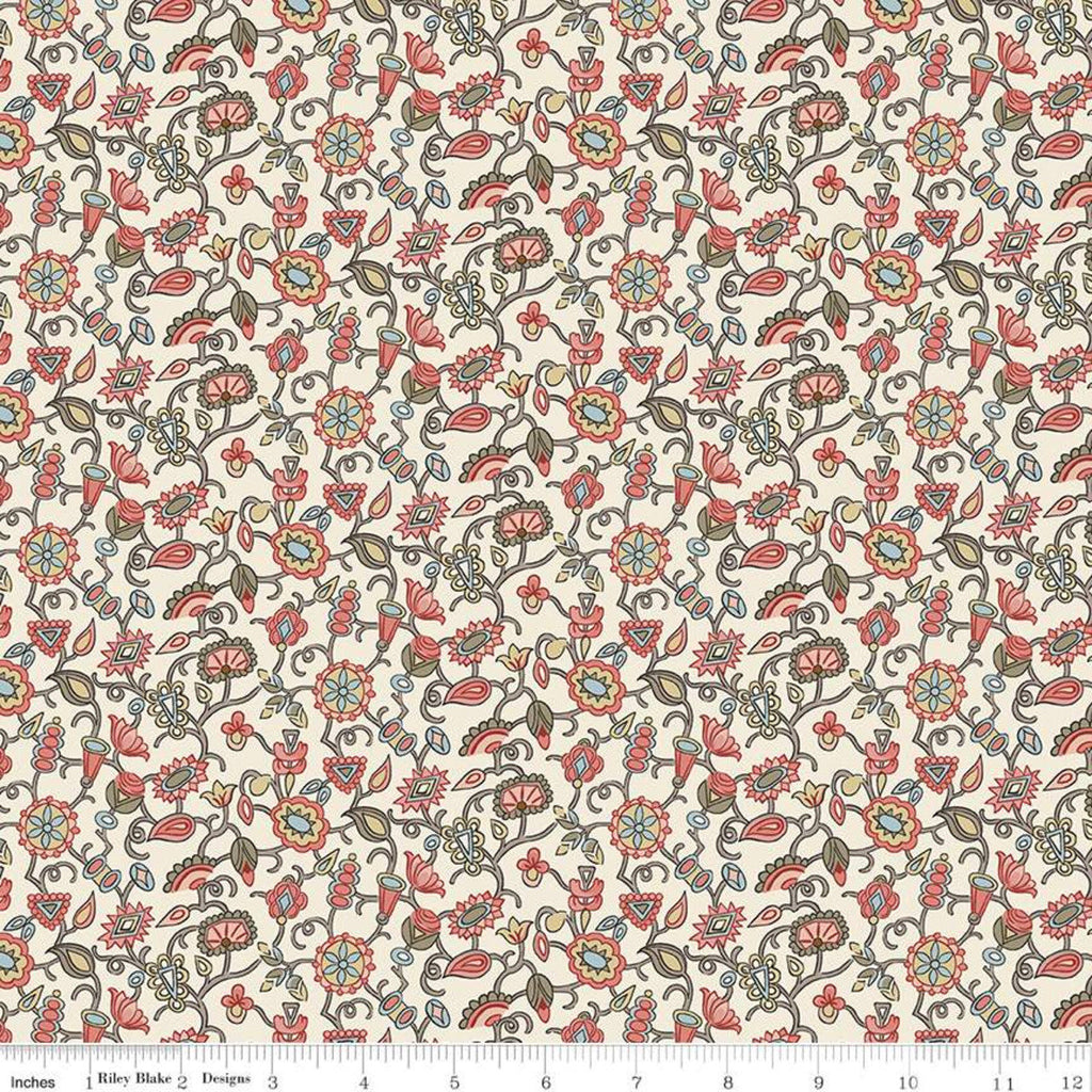 SALE Jane Austen at Home C10011 Margaret - Riley Blake Designs - Cream Pink Historical Reproductions Flowers Floral - Quilting Cotton Fabric