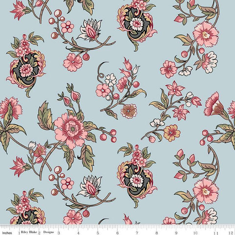 Jane Austen at Home C10006 Cassandra - Riley Blake Designs - Blue Pink Historical Reproductions Flowers Floral - Quilting Cotton Fabric