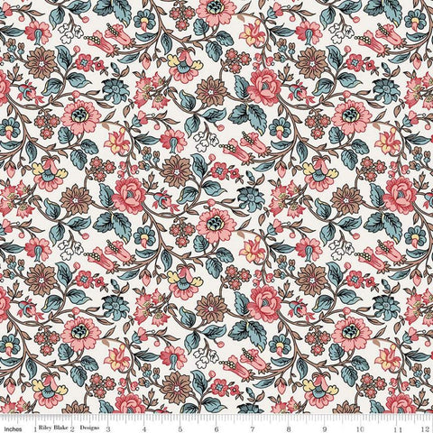 Jane Austen at Home C10003 Anne - Riley Blake  - Cream Blue Pink Historical Reproductions Flowers Floral - Quilting Cotton Fabric