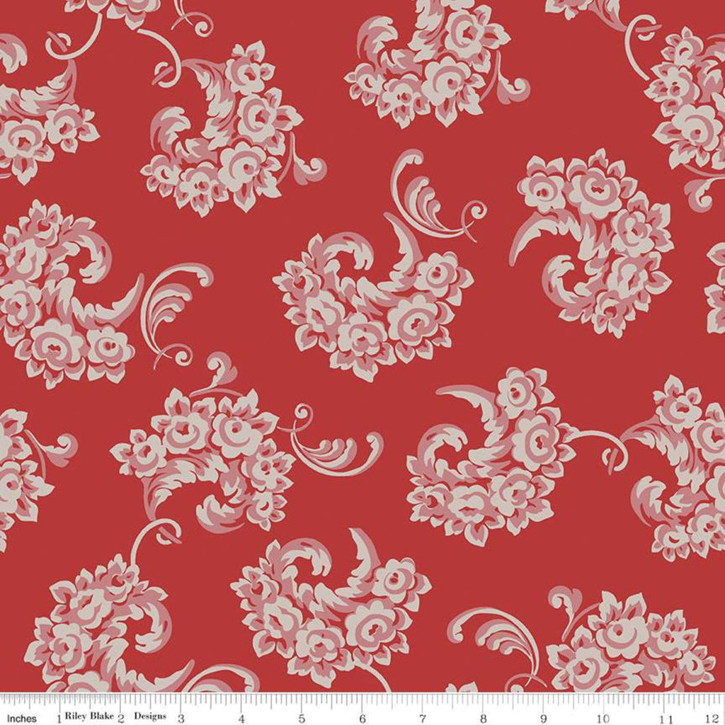 SALE Jane Austen at Home C10002 Emma - Riley Blake Designs - Red Historical Reproductions Flowers Floral - Quilting Cotton Fabric