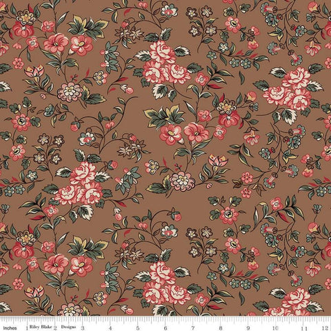 SALE Jane Austen at Home C10001 Georgiana - Riley Blake  - Brown Pink Historical Reproductions Flowers Floral - Quilting Cotton Fabric