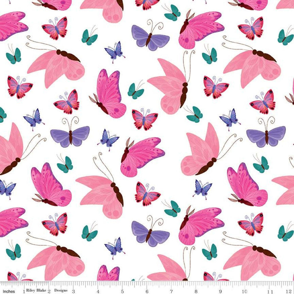 SALE Uni the Unicorn Butterflies C9982 White - Riley Blake Designs - Fantasy Juvenile Amy Krouse Rosenthal - Quilting Cotton Fabric