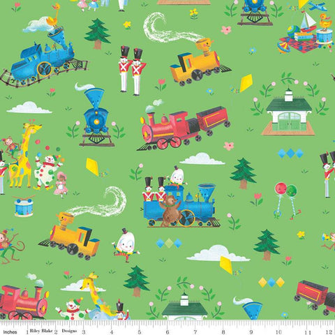 SALE The Little Engine That Could Main C9990 Green - Riley Blake Designs - Juvenile Trains Clowns Animals  - Quilting Cotton Fabric