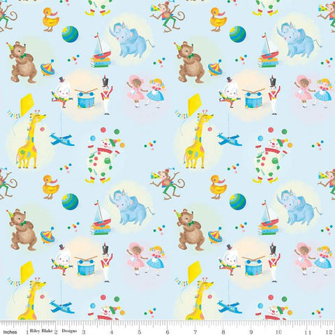 SALE The Little Engine That Could Toys C9991 Blue - Riley Blake Designs - Juvenile Dolls Planes Drums Animals  - Quilting Cotton Fabric