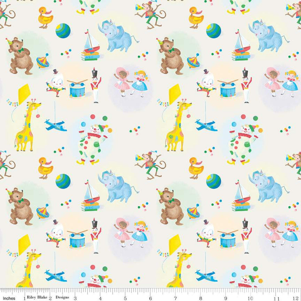 SALE The Little Engine That Could Toys C9991 Cream - Riley Blake Designs - Juvenile Dolls Planes Drums Animals  - Quilting Cotton Fabric