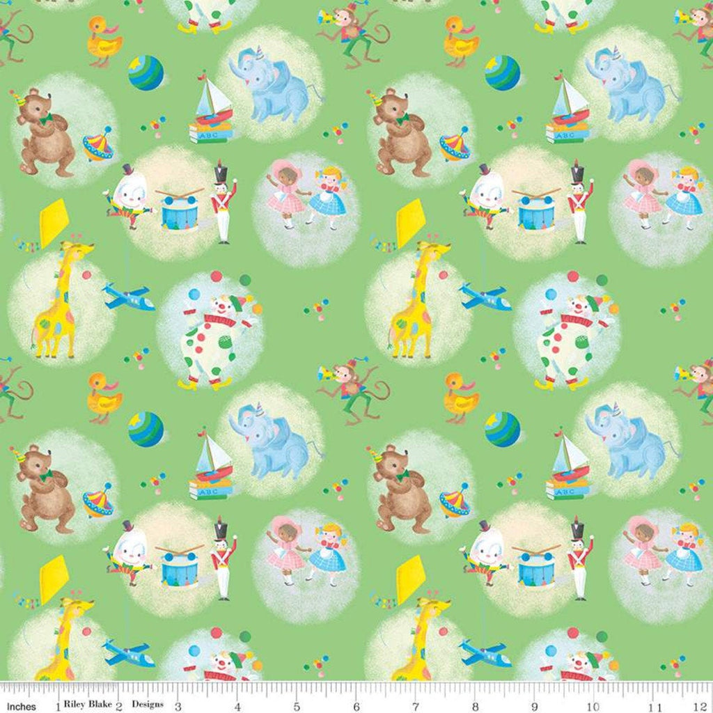 SALE The Little Engine That Could Toys C9991 Green - Riley Blake Designs - Juvenile Dolls Planes Drums Animals  - Quilting Cotton Fabric